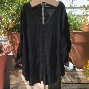 Torrid 1 Plus Size Black Button Up Blouse